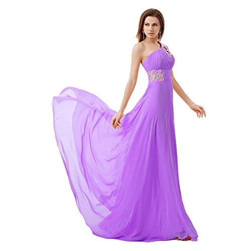 Besswedding Élégantes En Mousseline De Soie De Femmes Un Demoiselles D'honneur Épaule Robes Purple1 Appliques