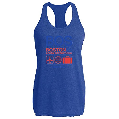 Pop Threads Bos Boston Logan Airport Code Since 1923 Travel Heather Royal L Womens Tank Top