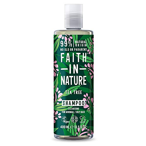 Faith in Nature Champu Natural de Arbol del Te, Purificante, Vegano y No Testado en Animales, sin Parabenos ni SLS, para Cabello de Normal a Graso, 400 ml