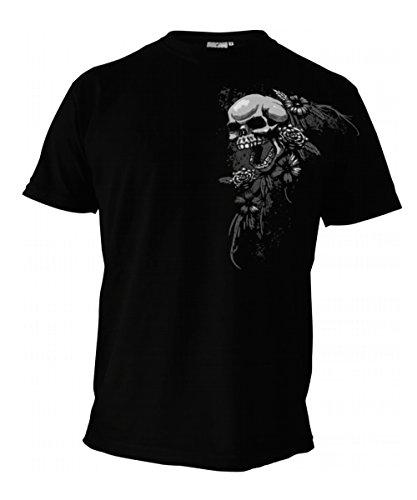 T-Shirt - SKULLS AND FLOWERS - Totenkopf, Biker, Tattoo, Metal - schwarz