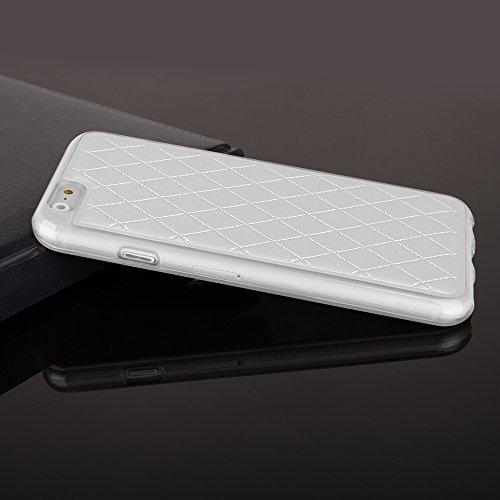 """Stylische TPU Silikon Handy Back Case Schutz Hülle weiß mit trendiger Kunstleder Rückseite für """"Apple Iphone 6s"""" Cover Schale Tasche Etui Bumper"""