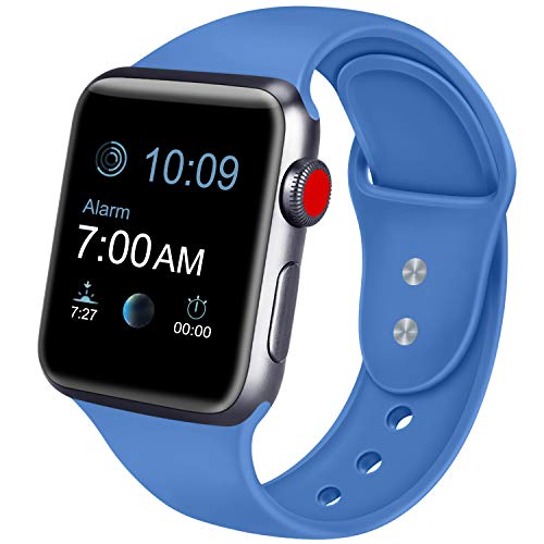 ATUP Compatible with for Apple Watch Replacement Band 38mm 40mm 42mm 44mm Women Men, Soft Silicone Band Compatible with for iWatch Series 4, 3, 2, 1 (Royal Blue, 38mm/40mm-S/M)