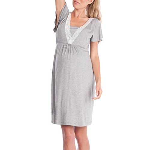 Camicia Camicia Sleepwear V Maternit Per A Seno Camicia L'Allattamento Per Scollo L'Allattamento juqilu Casual Al qdt8aFwxq