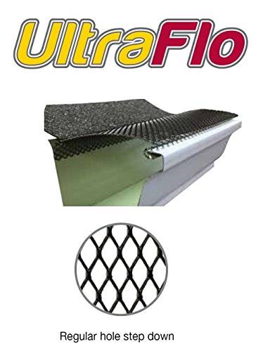 (100 feet) Ultra Flo Leaf Guard Gutter Protector for 5' K-Style Gutters. Regular Hole Step-Down. 25 panels x 4.00' each.