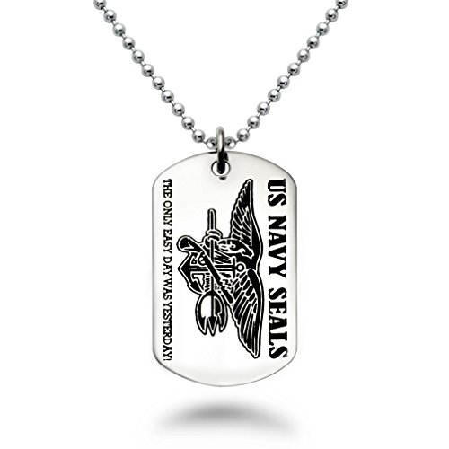 Laser Engraved U.S. Navy Seals + Psalm 23:4 Inscription, Military Style Stainless Steel Dog Tag Necklace Made in USA (Navy Seal Congressional Medal Of Honor Recipients)