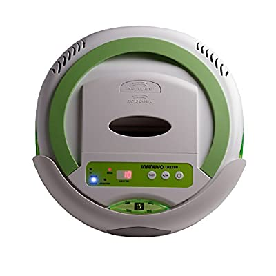 Infinuvo QQ 200 White Robot Vacuum - Sweeping, Vacuuming, Sterilizing 3-in-1 Cleaner for Cleaning Pet Hair, Dirt, Dust on Hard Floors.