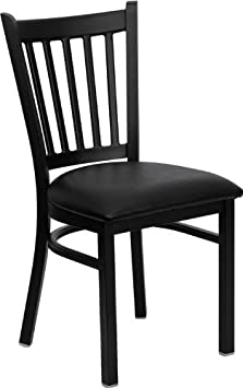 Flash Furniture 4 Pk. HERCULES Series Black Vertical Back Metal Restaurant Chair – Black Vinyl Seat