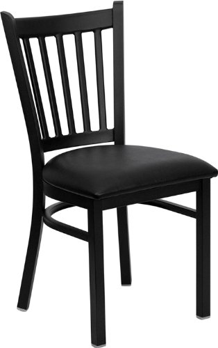 Flash Furniture HERCULES Series Black Vertical Back Metal Re