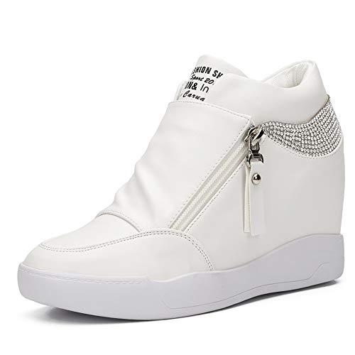 LIURUIJIA Women Hidden Wedges Ankle Boots Fashion Sneaker High Top Flats Platform Casual white-39(39/US7.5)