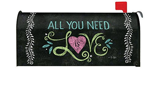 (Toland Home Garden All You Need is Love Chalkboard Inspirational Heart Magnetic Mailbox Cover)