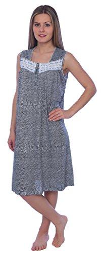 Beverly Rock Women's Floral Print Sleeveless Knit Nightgown RQ117 Black XL - Floral Print Sleepshirt