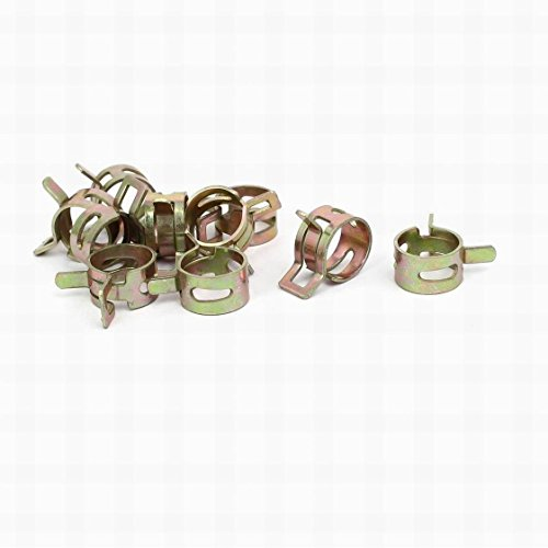 0.5' Pipe Clamp (FemiaD 11.5mm Inner Dia Yellow Zinc Plated Water Pipe Fuel Line Hose Clamps Clips 10pcs)