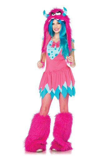 [Leg Avenue 2 Piece Mischief Monster Dress And Furry Monster Hood With Pom Pom Ties, Pink,] (Sexy Monster Halloween Costumes)