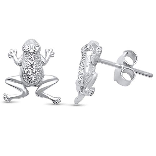 Micro Pave Clear Cubic Zirconia Frog Stud Earrings Sterling ()