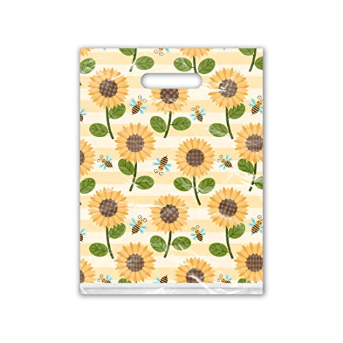9x12 (100) Sunflower and Bumble Bees Designer Retail Boutique Merchandise Bags with Handles Premium Printed Shopping Bags]()