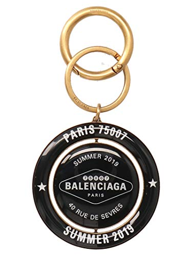 Luxury Fashion   Balenciaga Woman 569865TZ08X7079 Black Metal Key Chain   Season Outlet