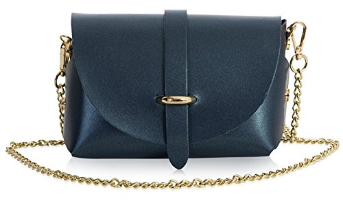 Handbag Small Mini Purse Leather Shoulder Metallic Party Clutch Blue Genuine Womens LIATALIA CORIN qEw8pp