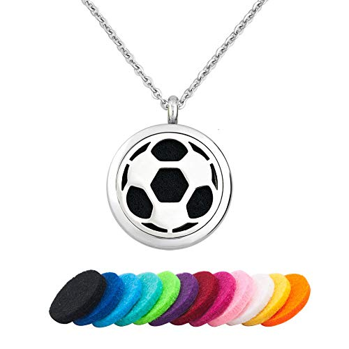 Moonlight Collection Soccer Sports Ball Essential Oil Diffuser Necklace Aromatherapy Scented Pendant Fragrance Locket + Refills