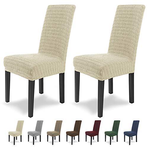 SCHEFFLER-Home Anna 2 Fundas de sillas, Estirable Cubiertas, Moderna extraible flexibel Funda con Banda elastica, Marfil
