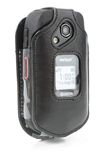 BELTRON Leather Fitted Case for Kyocera DuraXV LTE E4610 (Verizon), DuraXE E4710 (AT&T) - Features: Rotating Belt Clip, Screen & Keypad Protection, Secure Fit (Cases Verizon Kyocera Phone For)