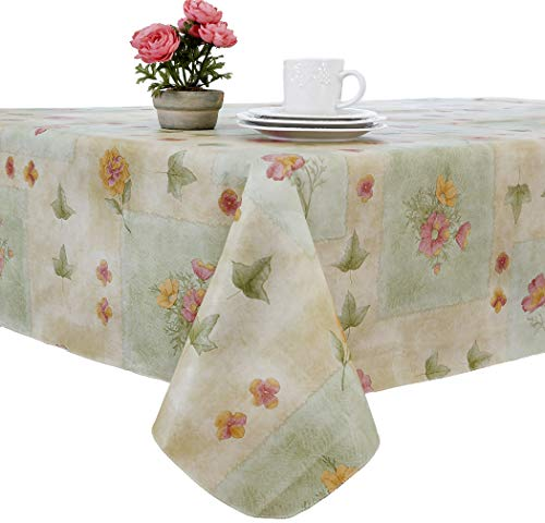 (EVERYDAY LUXURIES Peony Patch Flannel Backed Indoor Outdoor Vinyl Table Linens, 60-Inch by 84-Inch Oblong (Rectangle) with Umbrella Hole and Zipper, Sage)
