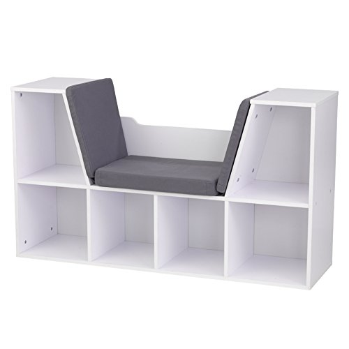 KidKraft Bookcase with Reading Nook Toy, White - Bookshelf Kidkraft Natural