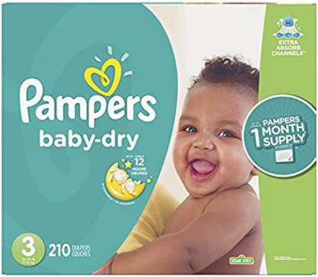 Pampers Baby Dry Disposable Diapers Size 3 ONE MONTH.. 210 COUNT