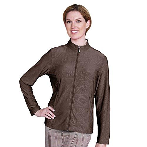 Monterey Club Ladies' Embossed Tonal Print Texture Jacket #2764 (Coconut,Medium) ()