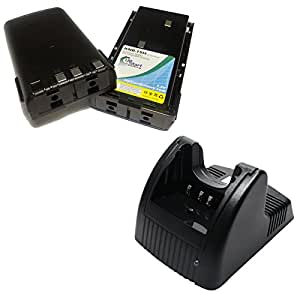 2x Pack - Kenwood KNB-15 Battery + Charger - Replacement for Kenwood KNB-14, KNB-15 Two-Way Radio Battery and Charger (1800mAh, 7.2V, NI-MH)