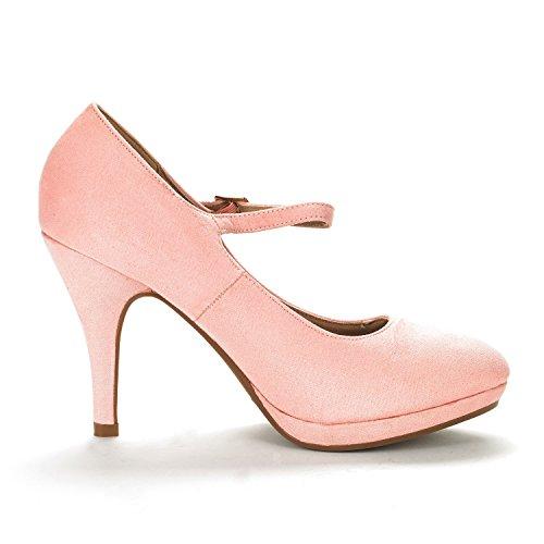 DREAM PAIRS Damen LILICA Mary-Jane Close Toe Stilleto Platform Pumps Schuhe Rosa Wildleder