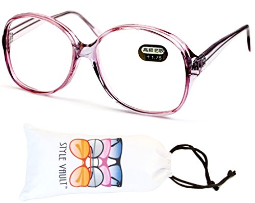 E3035-vp Style Vault Oversized Reading Eyeglasses (B1867F +1.75 Crystal - 70s Eyeglasses