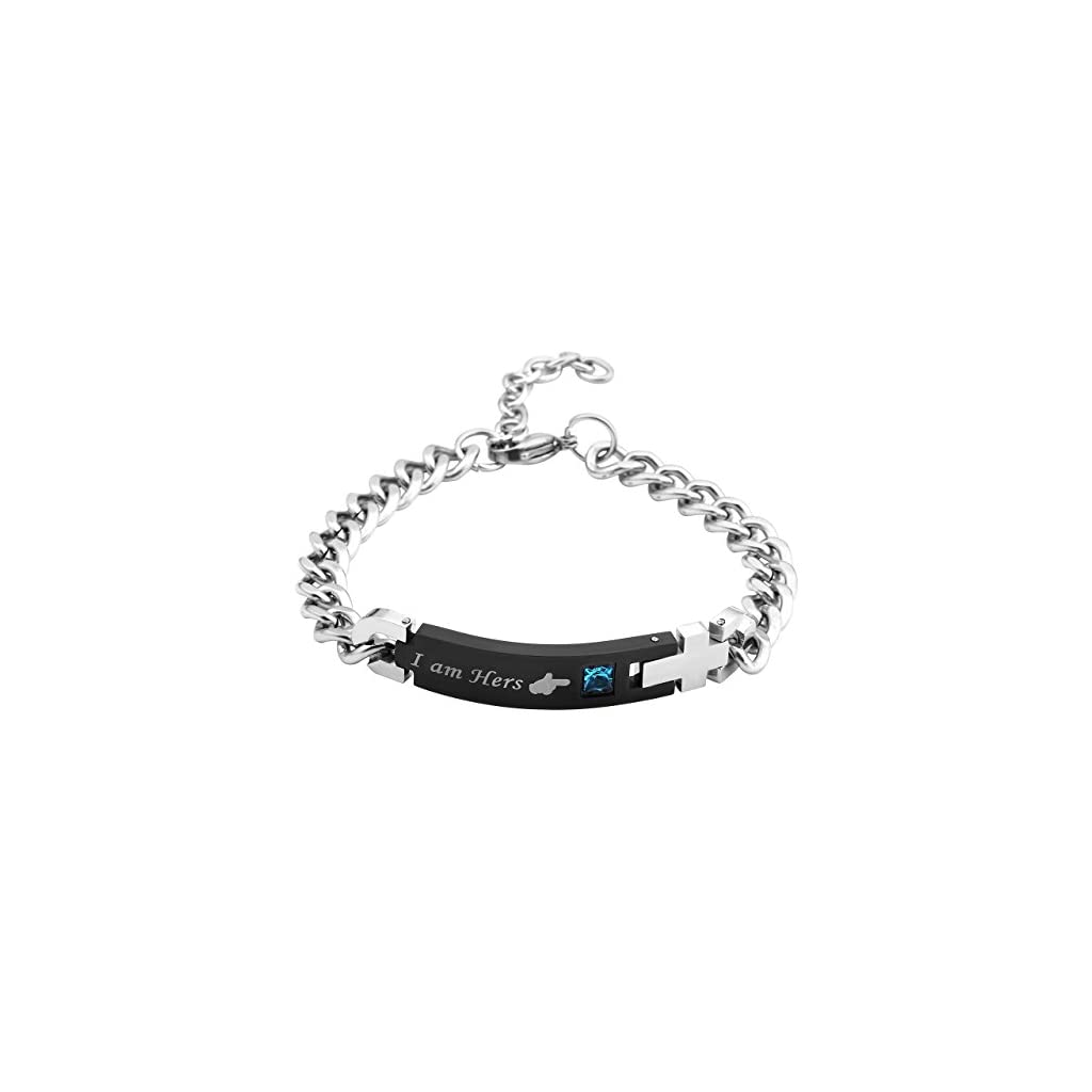 Jovivi Men Women Stainless Steel CZ His Beauty & Her Beast Couples Bracelets Matching Set in Gift Box