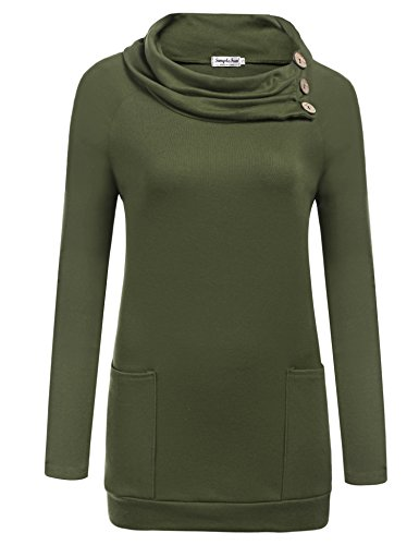 Down Womens Raglan Hoodie (SimpleFun Womens Raglan Long Sleeve Pullover Casual Tunic Sweatshirts with Pockets (Army Green, L))