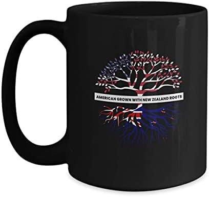 N\A Bandera de Nueva Zelanda Taza de café Negra de 11 oz Taza de té Inmigrante de ascendencia Familiar