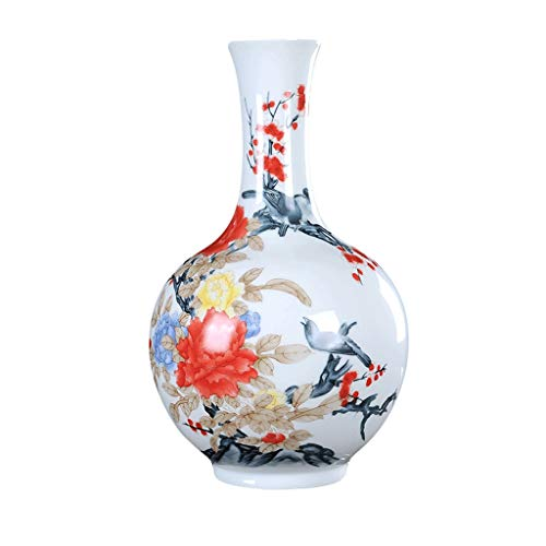 Vases LIUBINGER Ceramics Living Room Decoration Flowers and Birds Modern Chinese Home Decorations Antique Porcelain Bottle Crafts (Size : L)