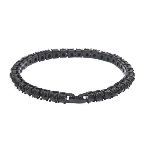 Price comparison product image Mchoice Hip Hop Men Bracelet Series Rhinestone Bracelet Chain Bling Crystal Bracelet Women 20 cm (Black)