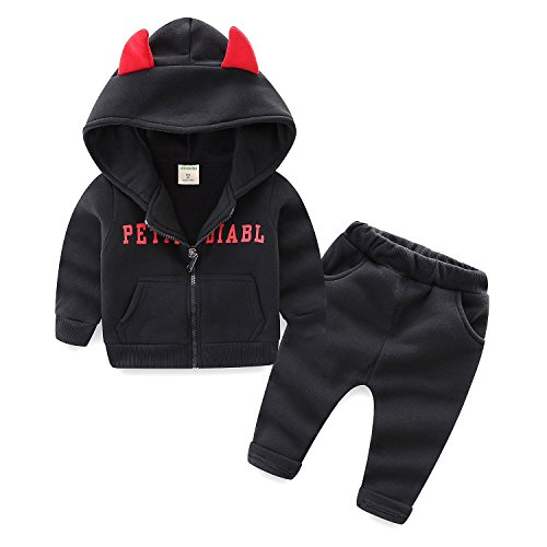 Costume Devil Boys Toddler (Mud Kingdom Toddler Boys Halloween Costumes Devil Hooded Boys Clothes Sets 24M)