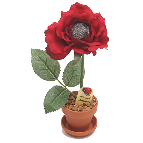JustPaperRoses 11th Wedding Anniversary Gift Potted Steel-wool Rose