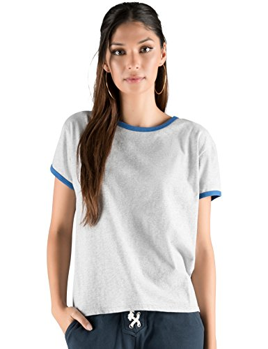 Rebel Canyon Young Women's Brushed Jersey Graphic Ringer Tee T-shirt Top X-Large Grey (Ladies Heather Ringer)