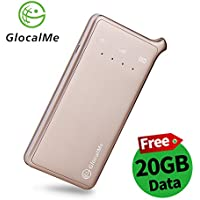 GlocalMe U2 4G LTE Mobile Hotspot with 20GB Data Plan of North America, Global Unlocked WIFI NO SIM Card and Free Roaming for Travel, MIFI Device for iPhone, Samsung, iPad, Tablet and Laptops(Gold)
