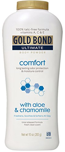 Gold Bond Ultimate Comfort Body Powder, Aloe and Chamomile, 10 Ounce Bottles (Pack of 3), Talc-Free Powder Helps Control Odor, and Absorb Moisture to Prevent Chaffing