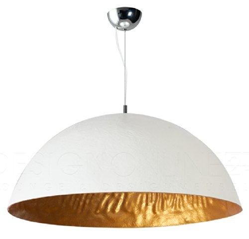 24Designs lampadario Sole Mezzo Tondo , grande, bianco,oro, diametro ø70cm
