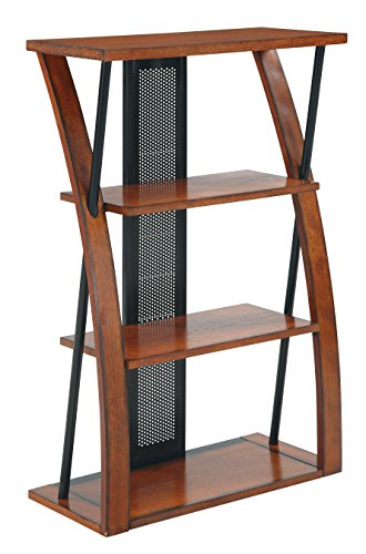 (Stylish Medium Oak Bookcase with Black Accents, X-shaped Wood Frame, Sturdy and Spacious Open Space Three Shelf Storage, Made of Select Veneers and Solid Wood, Wood Grain Finish + Expert Home Guide)