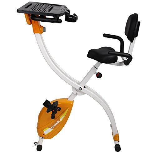 Loctek Upright Foldable Desk Bike Exercise Cycling Work Solution for Home & Office Use Orange