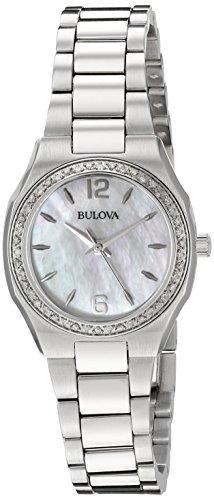 (Bulova Women's 96R199 Diamond Gallery Analog Display Japanese Quartz White Watch)