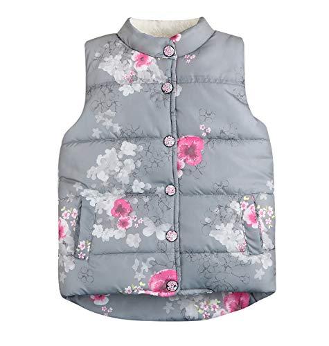 Kids Toddler Girls Floral Fleece Jacket Vest Coat Waistcoat Warm Winter Clothes Outwear