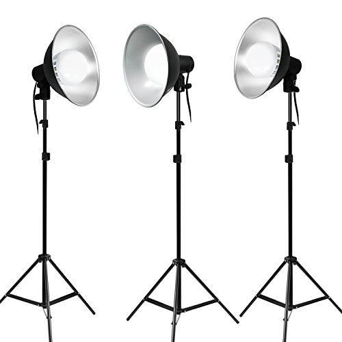Julius Studio Photo Studio Continuous Lighting Kit with Bowl Reflector Light Head, Energy Saving LED Light Bulb and Light Stand Tripod, PR07_AM1(V2) by Julius Studio