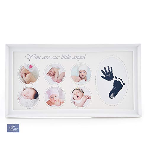 Newborn Baby Photo Frame Handprint &Footprint Plastic Baby Prints Photo Frame with no Mess Clean Craft Ink pad for Baby Girl Shower Birthday Memorable Keepsake Gifts (Rectangle White)