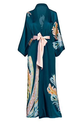 Charmeuse Silk Belt - Old Shanghai Women's Kimono Robe Long - Watercolor Floral, Peacock Feather- Teal, One Size