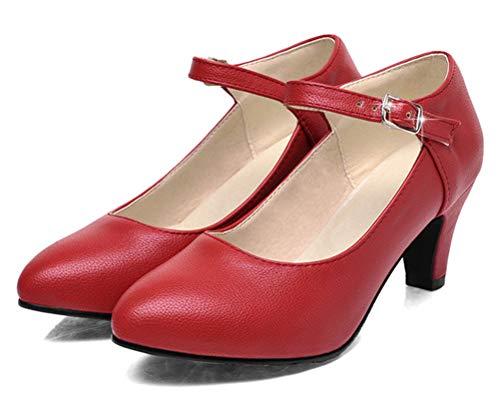 Mujer 43 Color Talla Rojo a cu Piel EU Sandalias con HiTime de YAvRwq